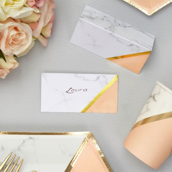 Peach Marble Place Cards (10)